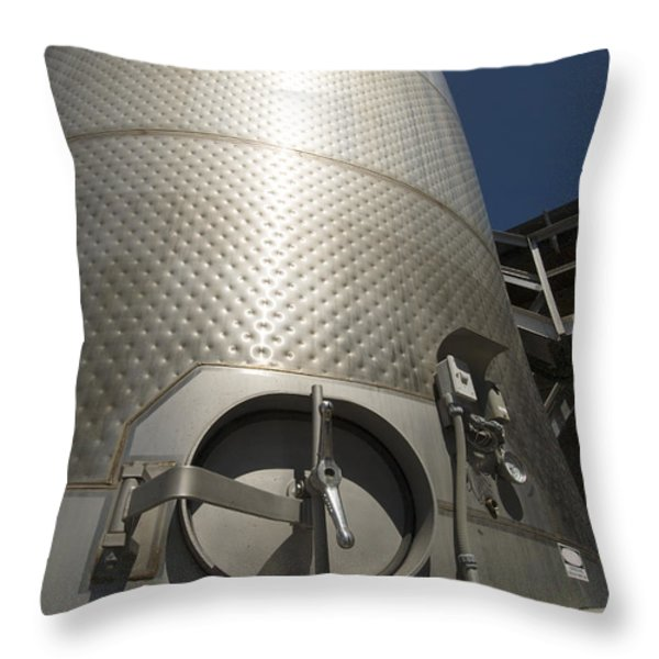Large Steel Vat For Wine Making Throw Pillow by James Forte