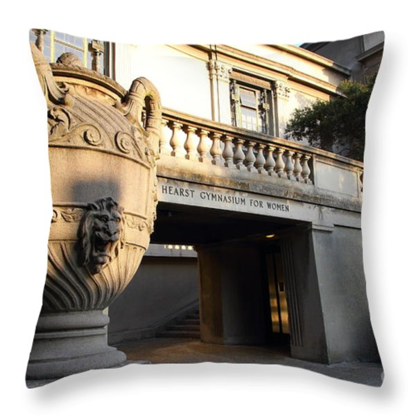 Large Urn With Lion Gargoyle At The Hearst Gymnasium For Women . Uc Berkeley . 7d10196 Throw Pillow by Wingsdomain Art and Photography