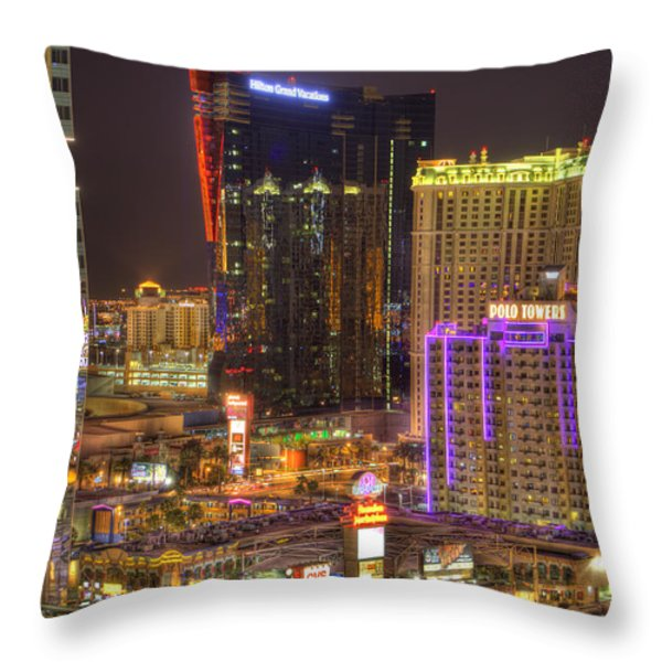 Las Vegas Nevada Throw Pillow by Nicholas  Grunas