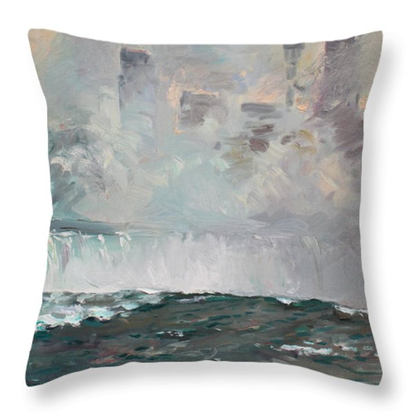 Late Afternoon In Niagara Falls Throw Pillow by Ylli Haruni