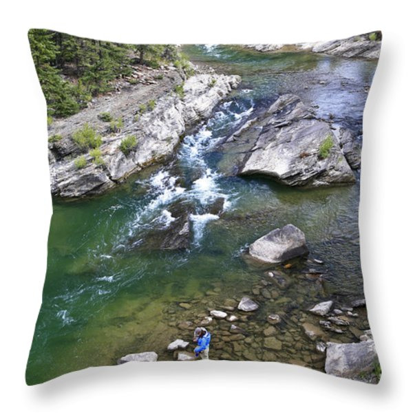 Late Season Fishing On The Gros Ventre Throw Pillow by Drew Rush