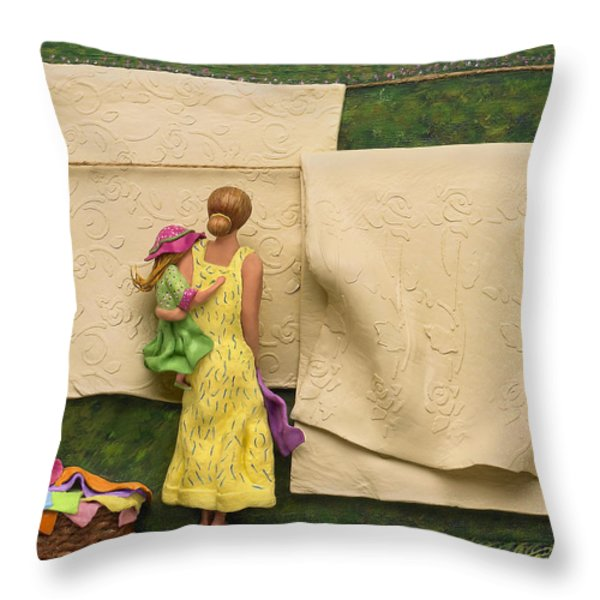 LAUNDRY - Crop Of Original - To See Complete Artwork Click View All Throw Pillow by Anne Klar