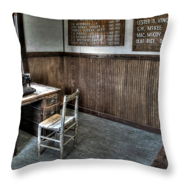 Law Man's Office - Molson Ghost Town Throw Pillow by Daniel Hagerman