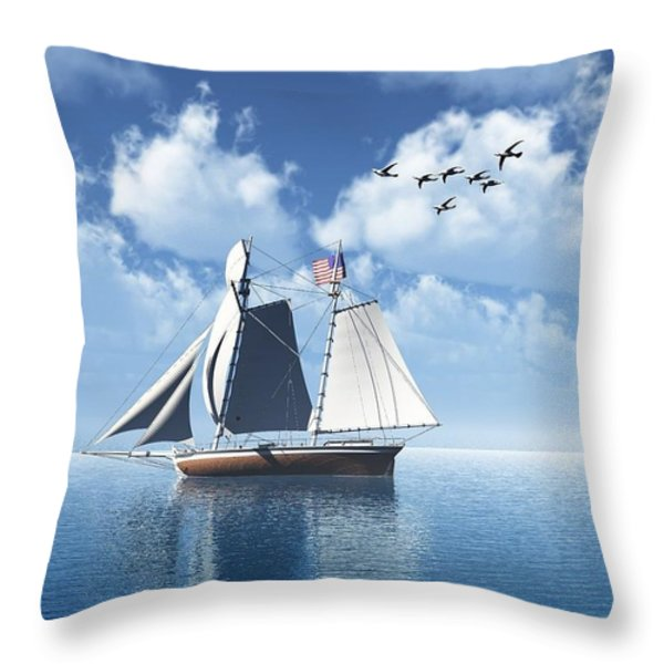 Lazy Day Sail Throw Pillow by Julie  Grace