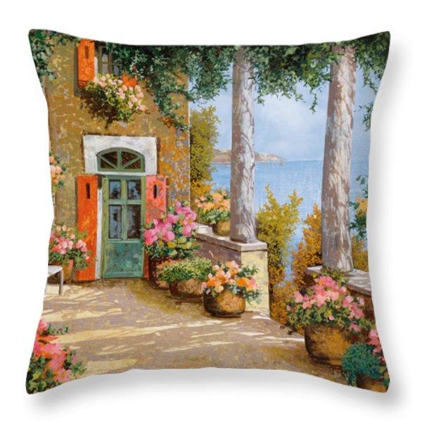 le colonne sulla terrazza Throw Pillow by Guido Borelli