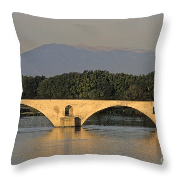 Le Pont Benezet.Avignon. Provence. Throw Pillow by BERNARD JAUBERT