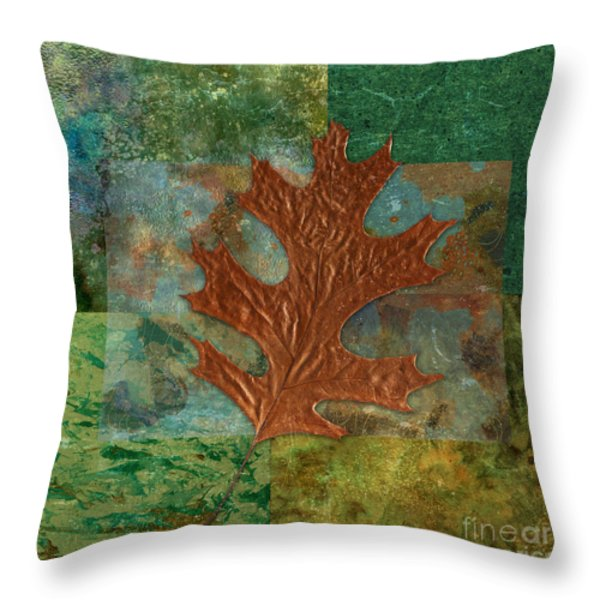 Leaf Life 01 - Green 01b2 Throw Pillow by Variance Collections