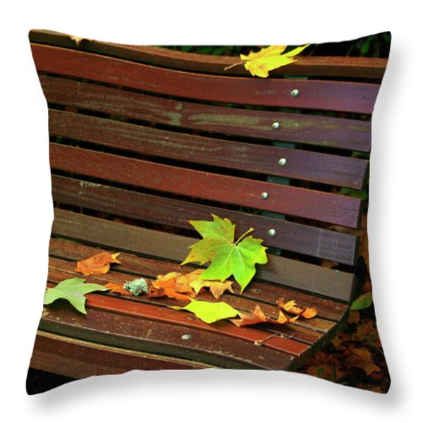Leafs in Bench Throw Pillow by Carlos Caetano