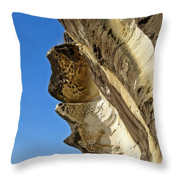 Leaning Rock Throw Pillow by Kaye Menner