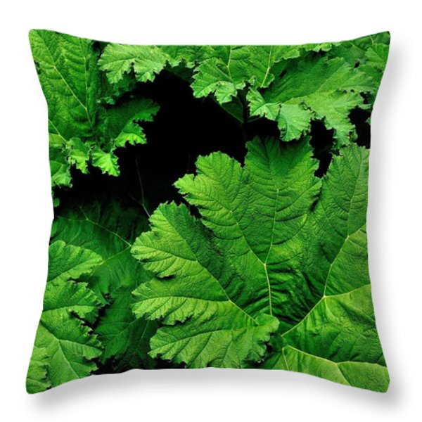 Leaves Throw Pillow by Kathy King