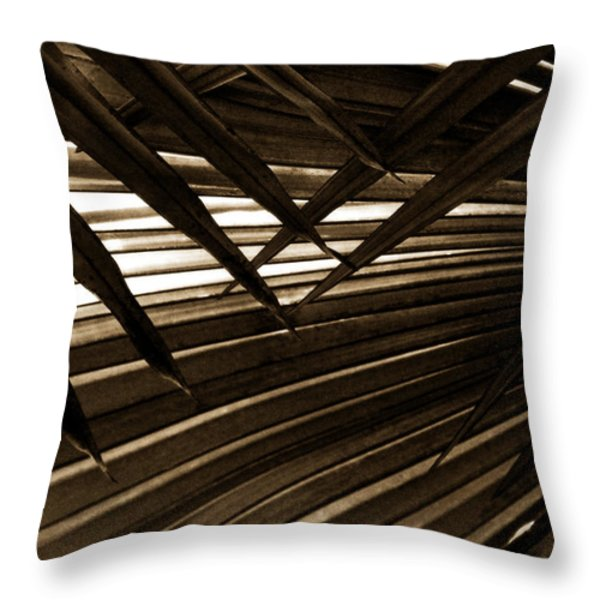 Leaves Of Palm Sepia Throw Pillow by Marilyn Hunt