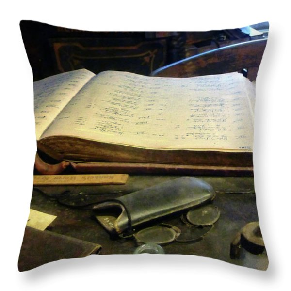Ledger And Eyeglasses Throw Pillow by Susan Savad