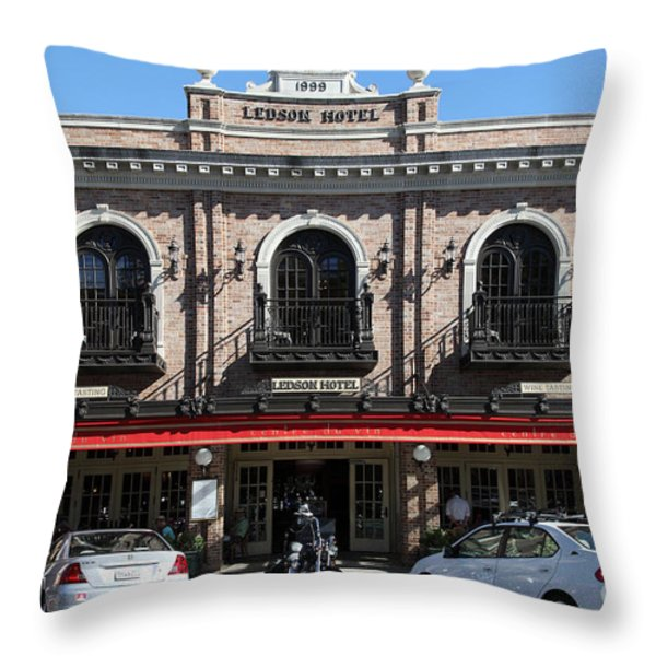 Ledson Hotel - Downtown Sonoma California - 5D19268 Throw Pillow by Wingsdomain Art and Photography