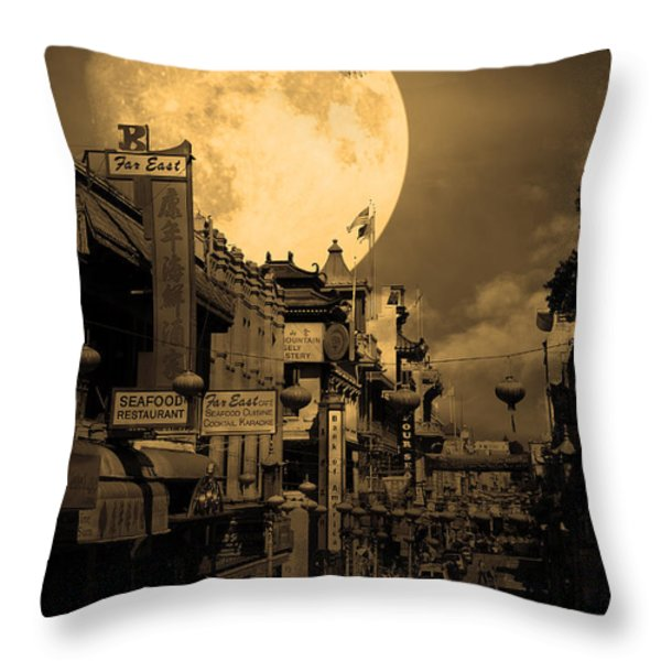Legend Of The Great White Phoenix Of Chinatown . 7d7172 . Sepia Throw Pillow by Wingsdomain Art and Photography