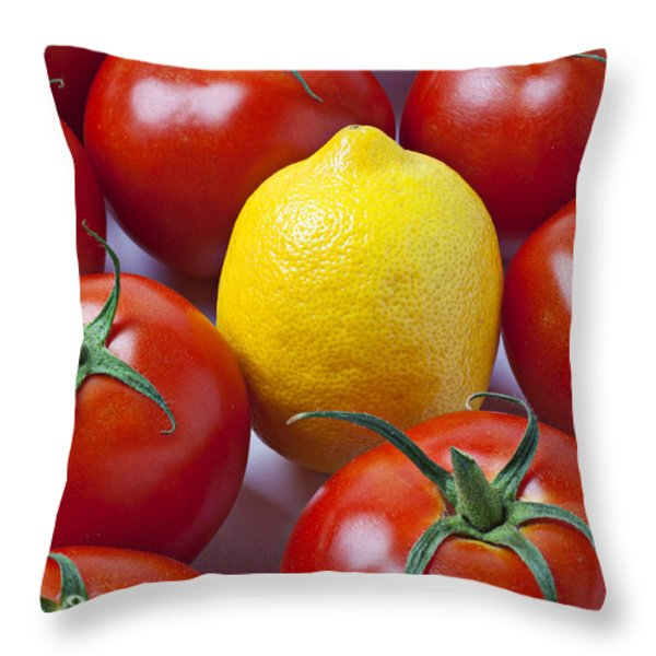 Lemon And Tomatoes Throw Pillow by Garry Gay