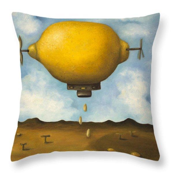 Lemon Drops Throw Pillow by Leah Saulnier The Painting Maniac