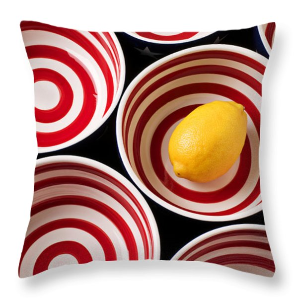 Lemon In Red And White Bowl  Throw Pillow by Garry Gay