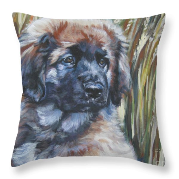 Leonberger Pup Throw Pillow by Lee Ann Shepard