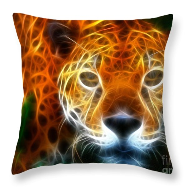 Leopard Watching at his Prey Throw Pillow by Pamela Johnson