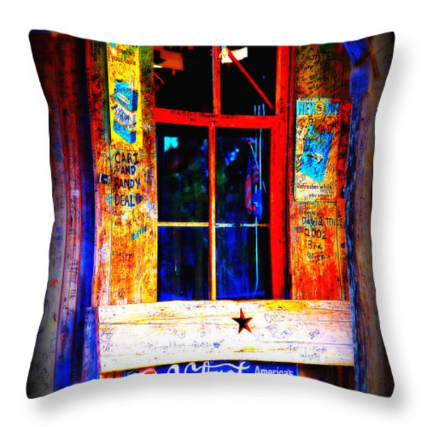Let's go to Luckenbach Texas Throw Pillow by Susanne Van Hulst