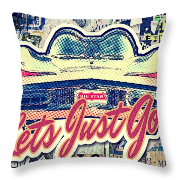Let's Just Go Throw Pillow by Mo T