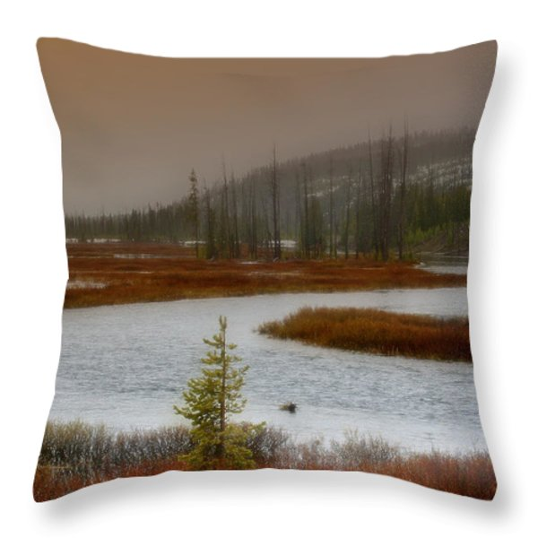 Lewis River - Yellowstone National Park Throw Pillow by Ellen Heaverlo