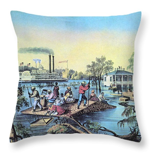 Life On The Mississippi, 1868 Throw Pillow by Photo Researchers