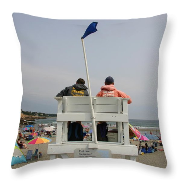 Lifeguards Watch Over The Traditional Throw Pillow by Stephen St. John