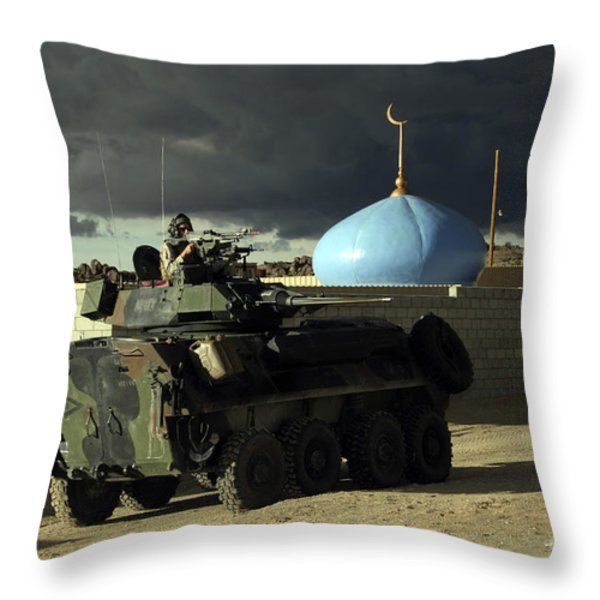 Light Armored Vehicle Commander Mans Throw Pillow by Stocktrek Images