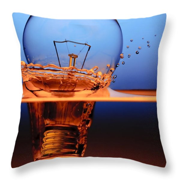 Light Bulb And Splash Water Throw Pillow by Setsiri Silapasuwanchai