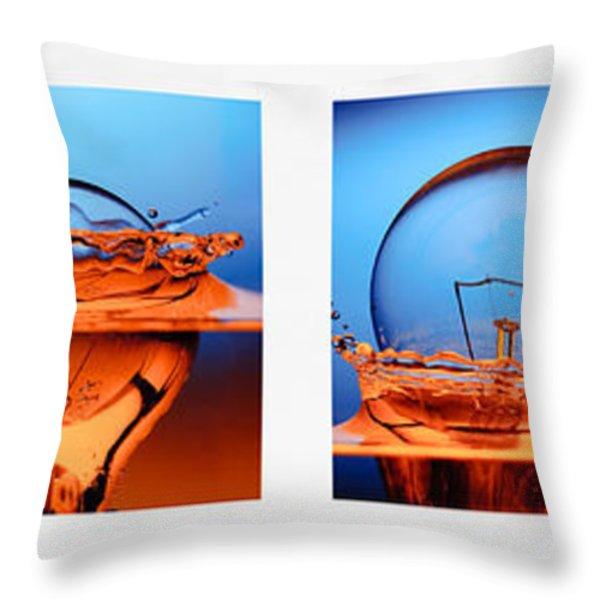 light bulb drop in to the water Throw Pillow by Setsiri Silapasuwanchai