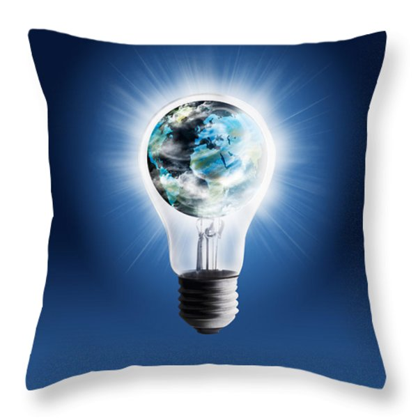 light bulb with globe Throw Pillow by Setsiri Silapasuwanchai