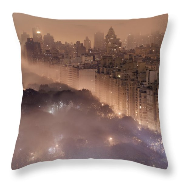 Light Pollution And Fog Combine To Blur Throw Pillow by Jim Richardson