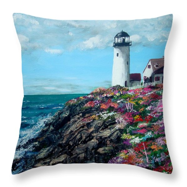 Lighthouse at Flower Point Throw Pillow by Jack Skinner