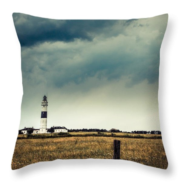 Lighthouse Of Kampen -vintage Throw Pillow by Hannes Cmarits