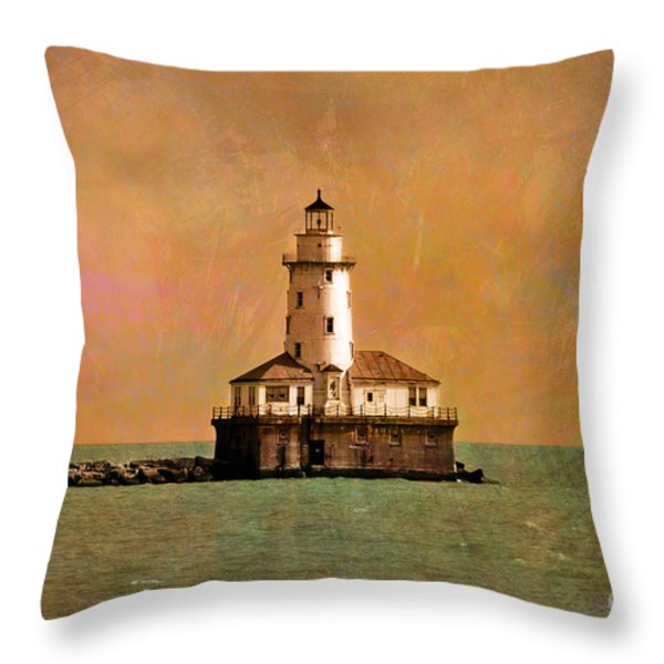 Lighthouse Off Navy Pier Throw Pillow by Mary Machare