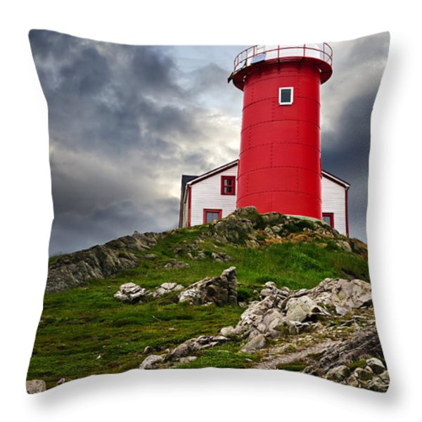 Lighthouse On Hill Throw Pillow by Elena Elisseeva