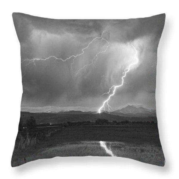 Lightning Striking Longs Peak Foothills 2BW Throw Pillow by James BO  Insogna