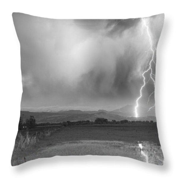 Lightning Striking Longs Peak Foothills 6BW Throw Pillow by James BO  Insogna