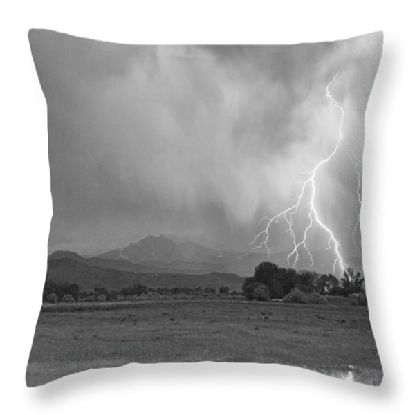 Lightning Striking Longs Peak Foothills 7cbw Throw Pillow by James BO  Insogna