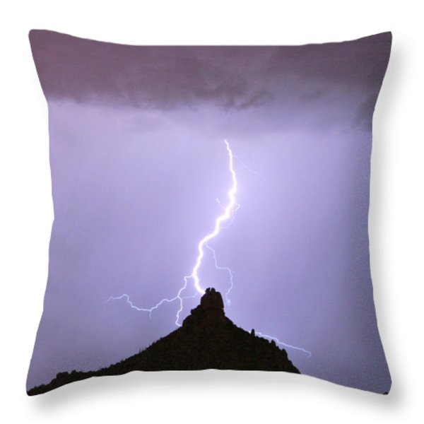 Lightning Striking Pinnacle Peak Scottsdale AZ Throw Pillow by James BO  Insogna