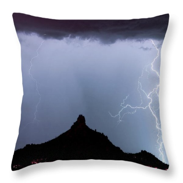 Lightning Thunderstorm At Pinnacle Peak Throw Pillow by James BO  Insogna