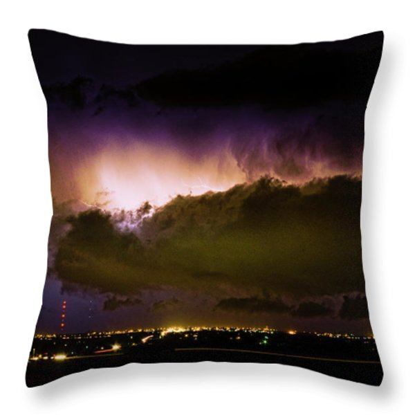 Lightning Thunderstorm Cloud Burst Throw Pillow by James BO  Insogna