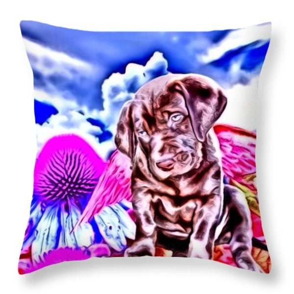 lil Angels Chocolate Lab Throw Pillow by Tisha McGee