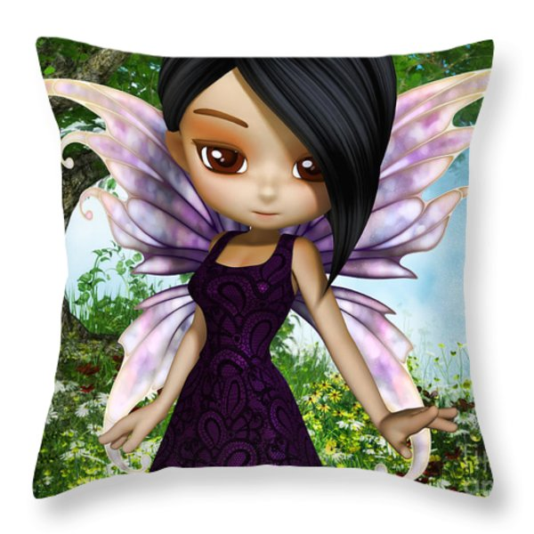 Lil Fairy Princess Throw Pillow by Alexander Butler