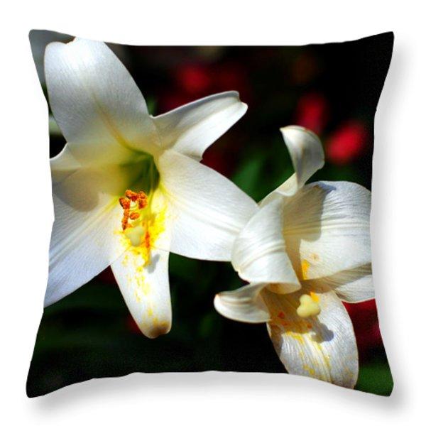 Lilium Longiflorum Flower Throw Pillow by Paul Ge