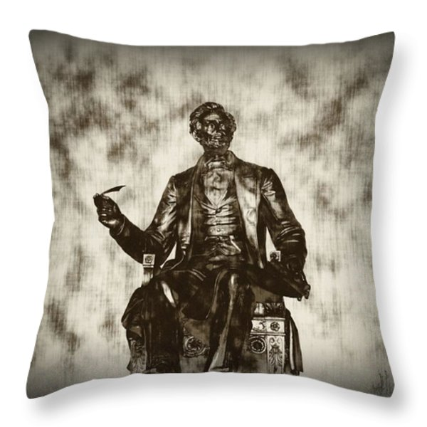 Lincoln - Pen in Hand Throw Pillow by Bill Cannon