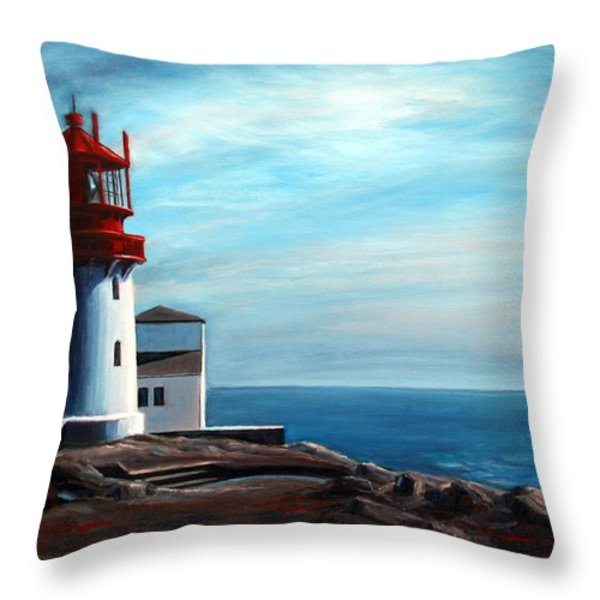 Lindesnes Lighthouse Throw Pillow by Janet King