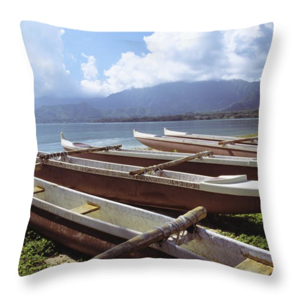 Line Of Outrigger Canoes Throw Pillow by Joss - Printscapes