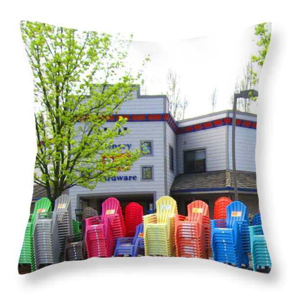 Line Of Rainbow Chairs Throw Pillow by Kym Backland